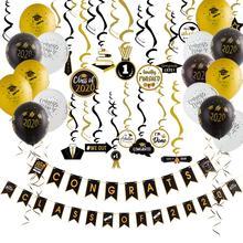 Graduation 2020 Latex Luftballons Hängen Congrats Banner Hängen Swirl Klasse Von 2020 Graduation Party Foto Hintergrund Dekorationen