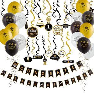 Image 1 - Graduation 2020 Latex Luftballons Hängen Congrats Banner Hängen Swirl Klasse Von 2020 Graduation Party Foto Hintergrund Dekorationen