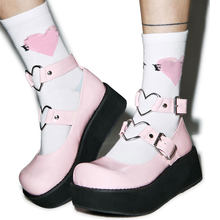 2021 Brand New Plus Size 43 Sweet Gothic Style Girls Pink Black Heart Decoration Mary Janes Flats Platform Shoes Women