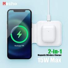 Cargador Dual inalámbrico de 15W para iPhone 12 Pro Max Mag Duo, carga inalámbrica magnética segura para iPhone 11 XS iWatch Airpods 2 3