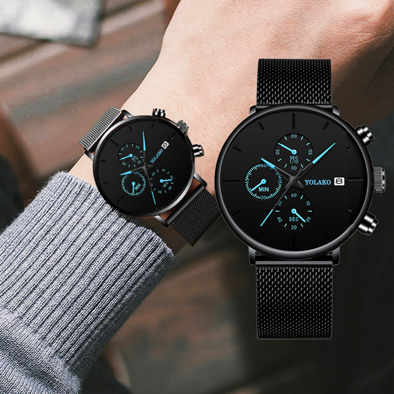 Quartz Men Watches Blue Pointer Casual Brand New Fashion Stainless Steel Mesh Strap Ultra Thin Gift Business WristWatch