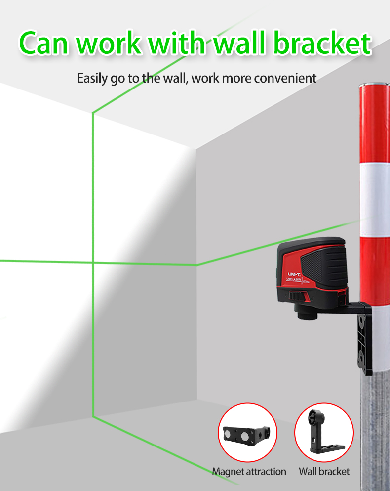Tools : UNI-T LM570LD-II Lines Laser Level Green Beam Self-Leveling Vertical Horizontal Cross Line Layout Measuring Instrument