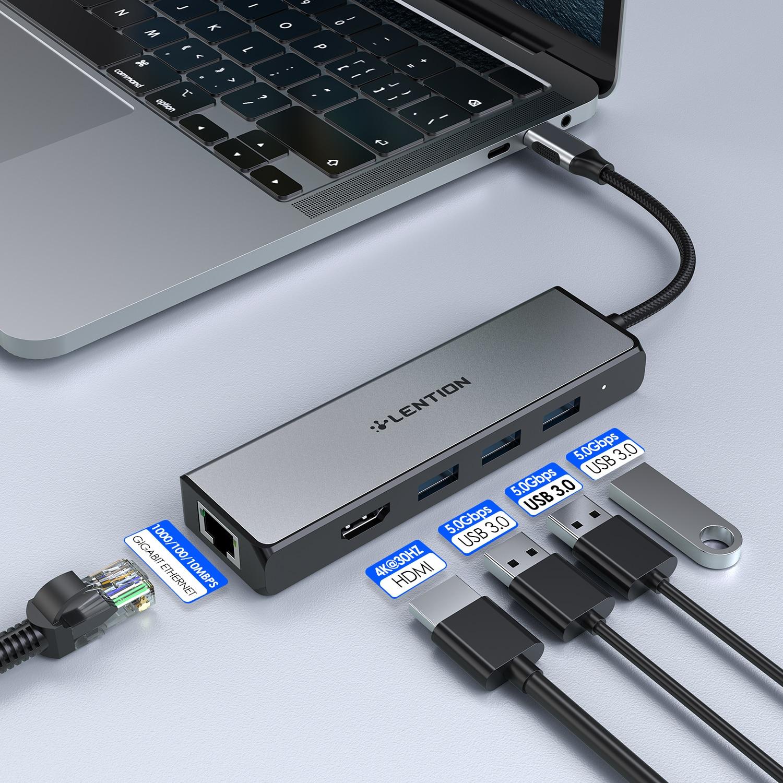 HUB USB vers USB 3.0 adaptateur HDMI Dock pour MacBook Pro 13.3 accessoires Type C 3.0 répartiteur 5 ports RJ45 HUB avec Gigabit Ethernet