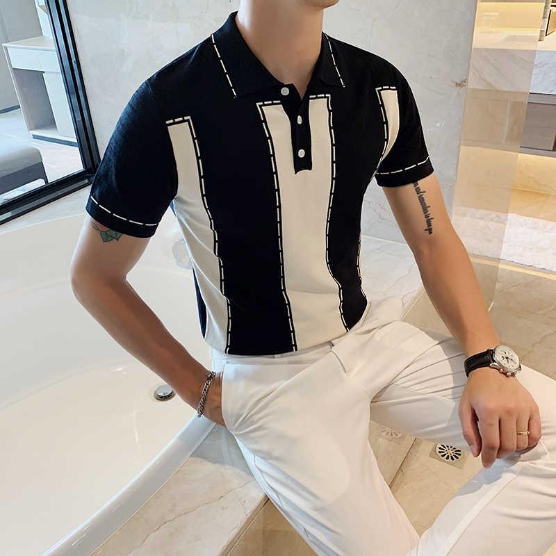 Playera 폴로 Hombre 남자 2020 패션 반팔 티셔츠 망 니트 폴로 셔츠 대비 색 영국 슬림 옷깃 아이스 실크