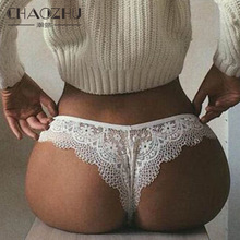 CHAOZHU Lace Lady Sexy Breathable Black White Underwear Plus Size S-XXL Fit Big Size Lingerie Panties G String Thong Floral