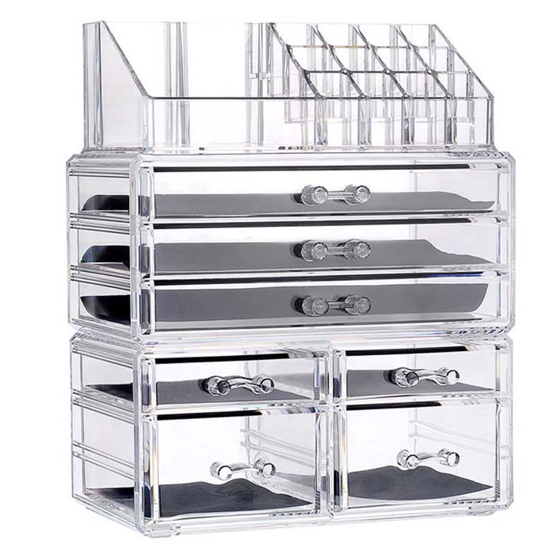 New Clear Acrylic Makeup Organizer Large Capacity Storage Box Lipstick Holder Drawers Make Up Organizer Cosmetic Tool Brush Case