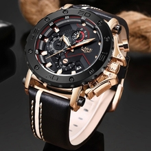 2019 LIGE Hot Fashion Mens Watches Top Brand Luxury Big Dial Military Quartz Watch Leather Waterproof Sport Chronograph Me