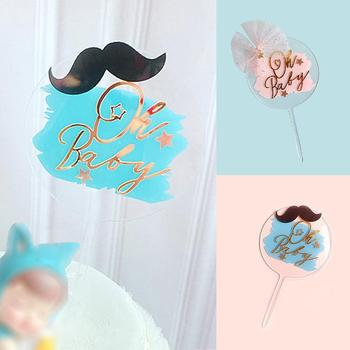 Oh Baby Acrylic Cake Topper Blue Birthday Cake Topper Insert Card Party Birthday Cake DIY Wedding Decoration O9U4 image