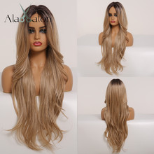 ALAN EATON Synthetic Hair Lace Front Wigs Women Long Wavy Ombre Black Brown Gold