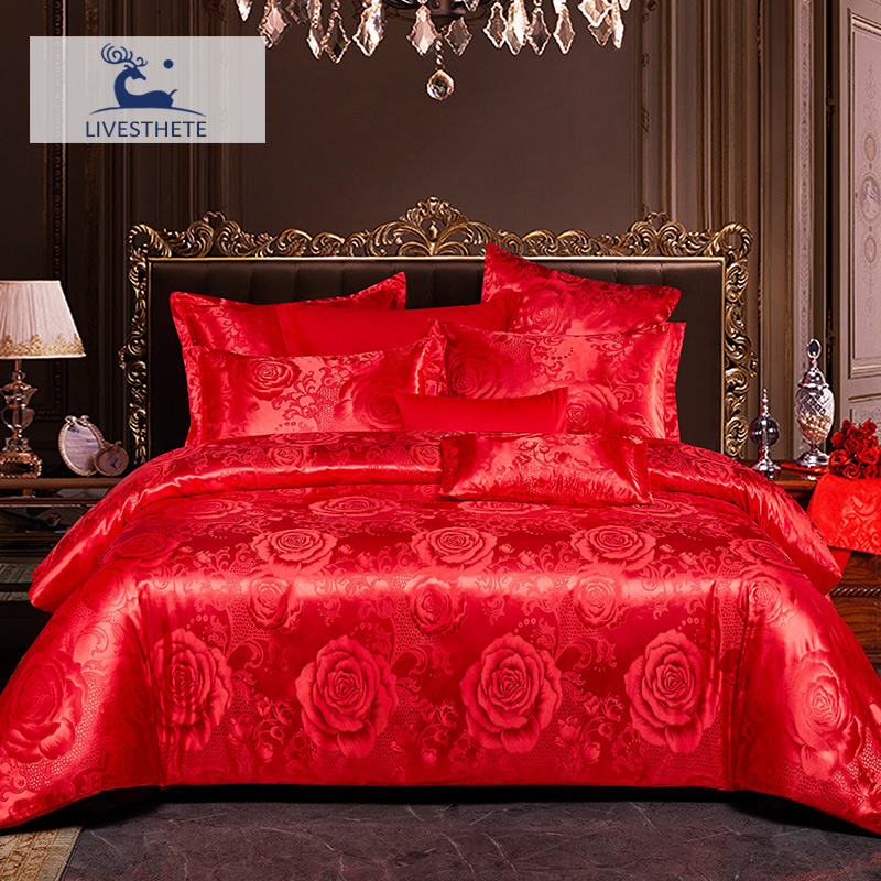 Liv-Esthete Luxury Red Flower Bedding Set Silky Duvet Cover Healthy Skin Pillowcase Double Flat Sheet Bed Linen For Wedding