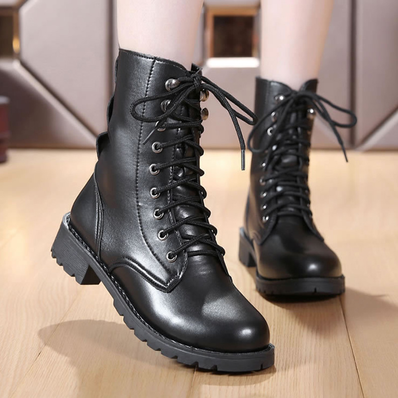 Womens Leather Lace Up Combat Military Ankle Biker Boots Flat Goth Punk Shoes