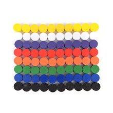 100 ppcs diâmetro 10*5mm 8 cores peças de jogo de madeira do peão colorido/xadrez para o jogo de tabuleiro/jogos educativos acessórios