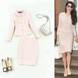 Женский костюм, осенне-зимний новый темперамент, шерстяной твидовый бледно-розовый пиджак + юбка в обтяжку, комплект из 2 предметов для женщи...