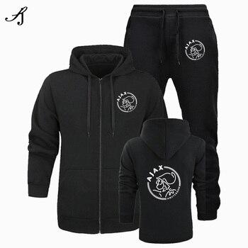 Men's 2 sportswear comfortable suit + pants cardigan hooded suit sportswear casual men's size S-3XL2020