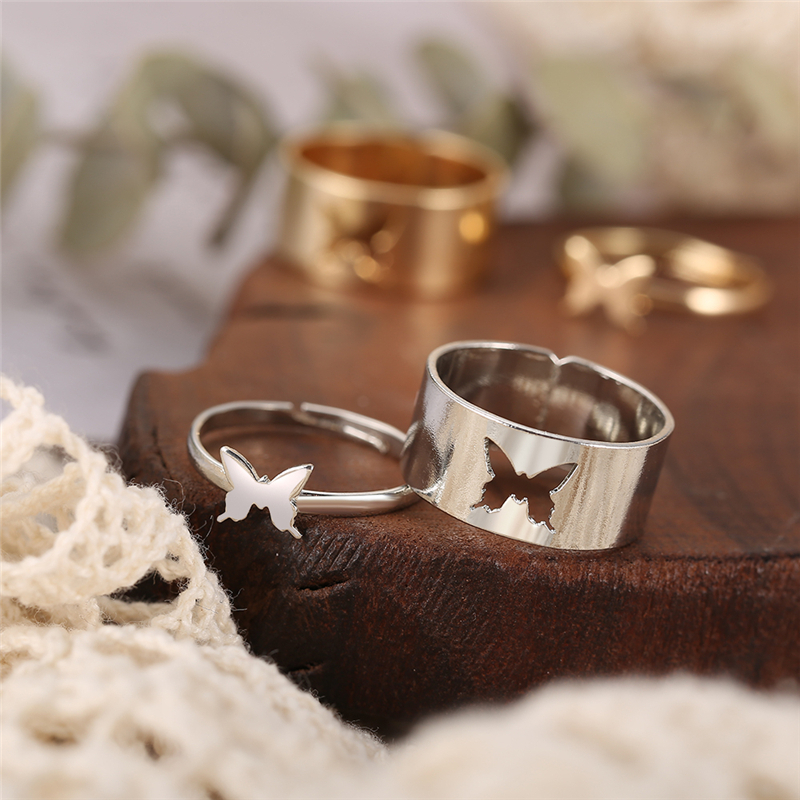 Punk Fashion Gold Silver Color Butterfly Opening Ring For Lovers Couples Women Men Hollow Animal Rings Anniversary Gifts Jewelry
