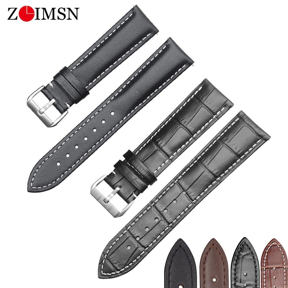 ZLIMSN nouvelle montre bracelet ceinture noir bracelets de montre bracelet en cuir véritable bracelet de montre 18mm 20mm 22mm 24mm montre accessoires bracelet