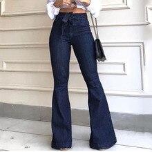 Обтягивающие джинсовые женские расклешенные брюки с высокой талией, уличный стиль, Синие сексуальные винтажные женские расклешенные брюки, расклешенные джинсы на осень