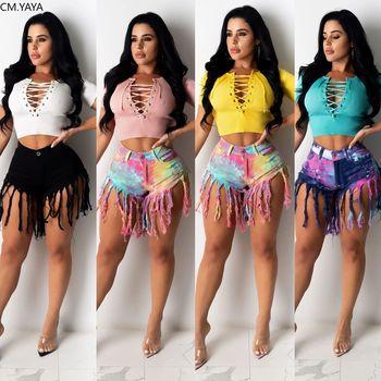 CM.YAYA, ropa de calle alta para mujer con cordones, cuello en V, manga corta, Top tejido, corto de color liso, Sexy, camiseta para fiesta en la playa