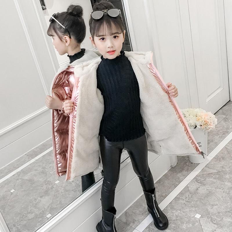 Girls Down Jackets Outdoor Warm Clothing Thick Velvet Coats Windproof Children's Winter Jackets Kids Rose Gold Winter Outerwear
