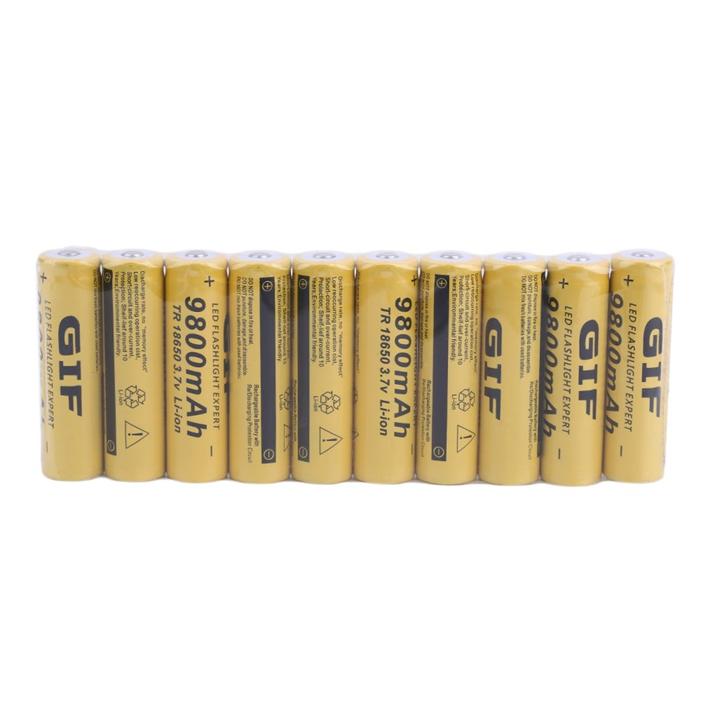 10PCS/SET Universal 18650 Li-ion Rechargeable Battery Cell 3.7V 9800MAH Replacement Battery For Torch Flashlight