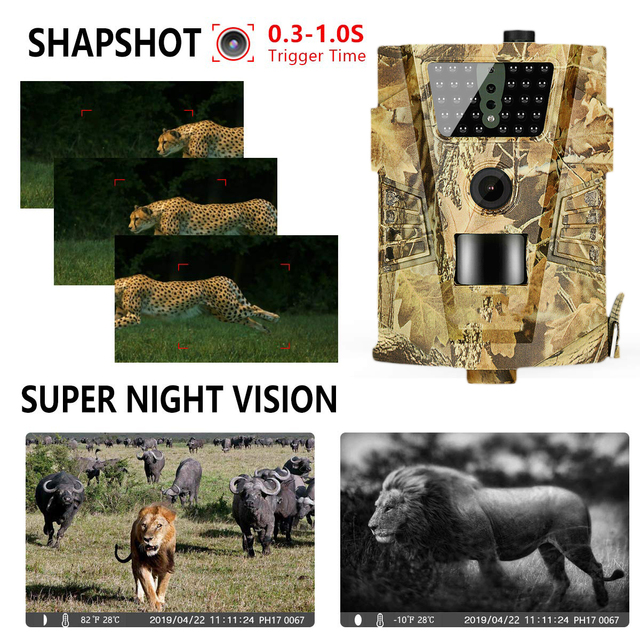 HT-001B Trail Camera 12MP 1080P 30pcs Infrared LEDs 850nm Hunting Camera IP54 Waterproof 120 Degree Angle Night vision
