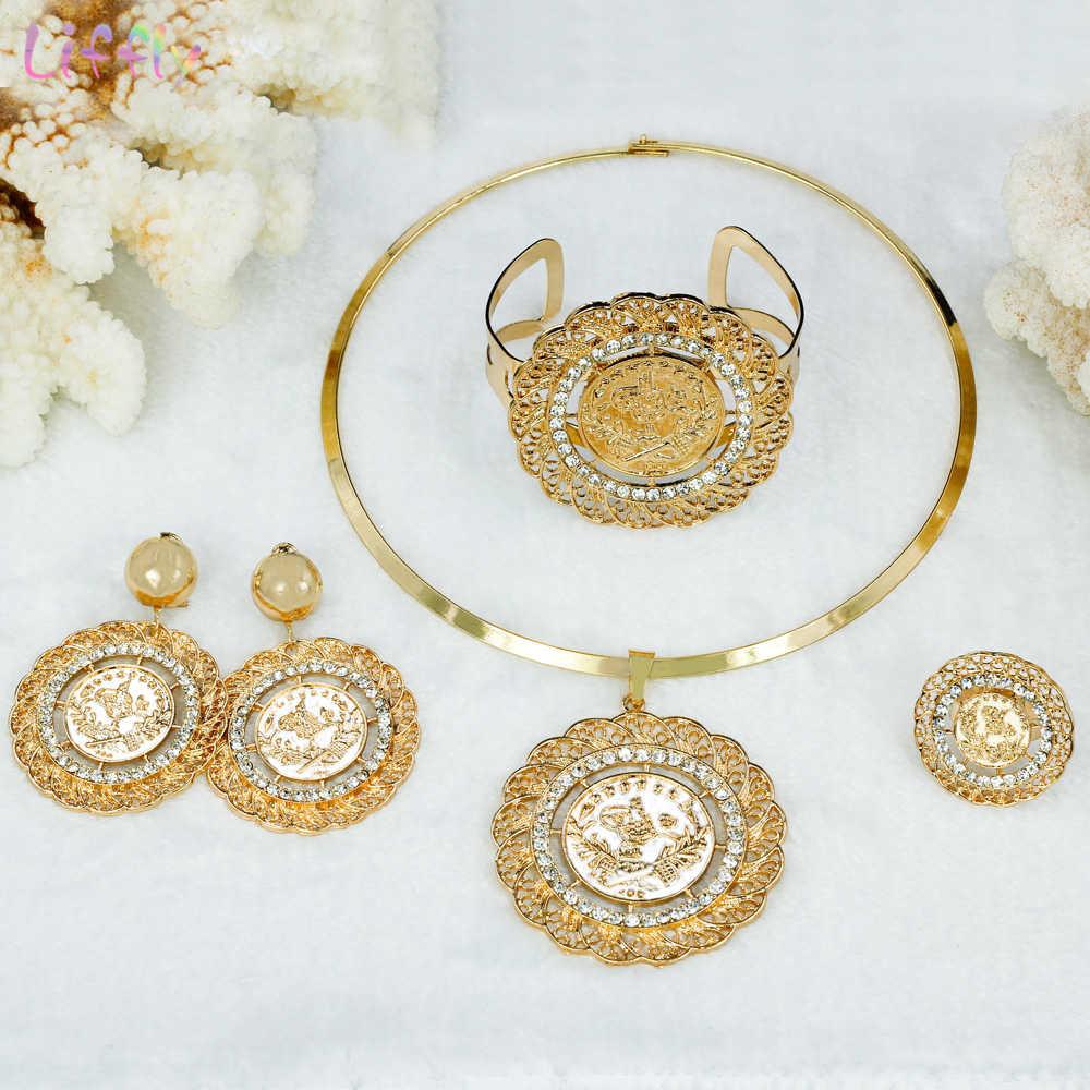 Liffly Braut Geschenk Dubai Gold Schmuck Sets für Frauen Mode Halsband Halskette Nigerian Hochzeit Große Afrikanische Perlen Schmuck Set