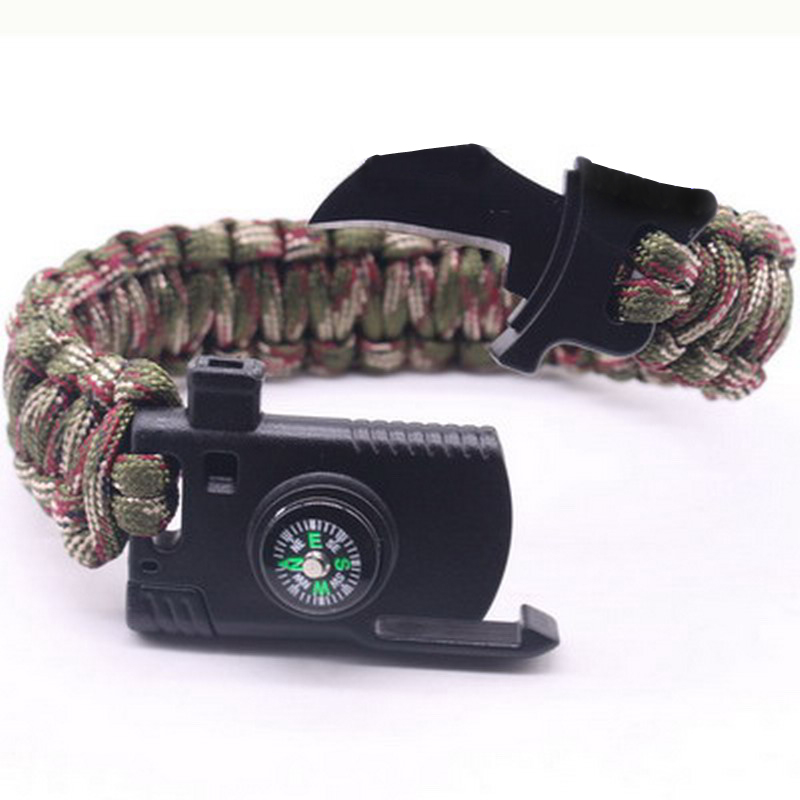 Outdoor Survival Bracelet Men Women Braided Paracord Multi-function Camping Rescue Emergency Rope Bangles Compass Whistle Knife