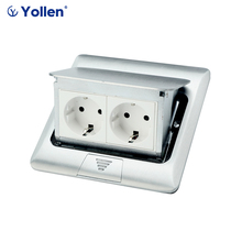 All Aluminum Panel EU Standard Pop Up Floor Socket 2 Way Electrical Outlet Modular Combination Power Double