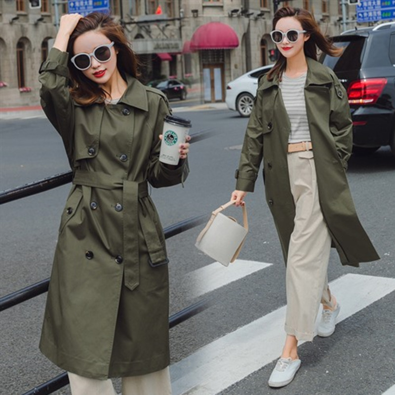 New 2019 Autumn Women Casual Simple Classic Trench Coat With Belt Female Windbreaker Manteau Femme Hiver Army Green Outwear