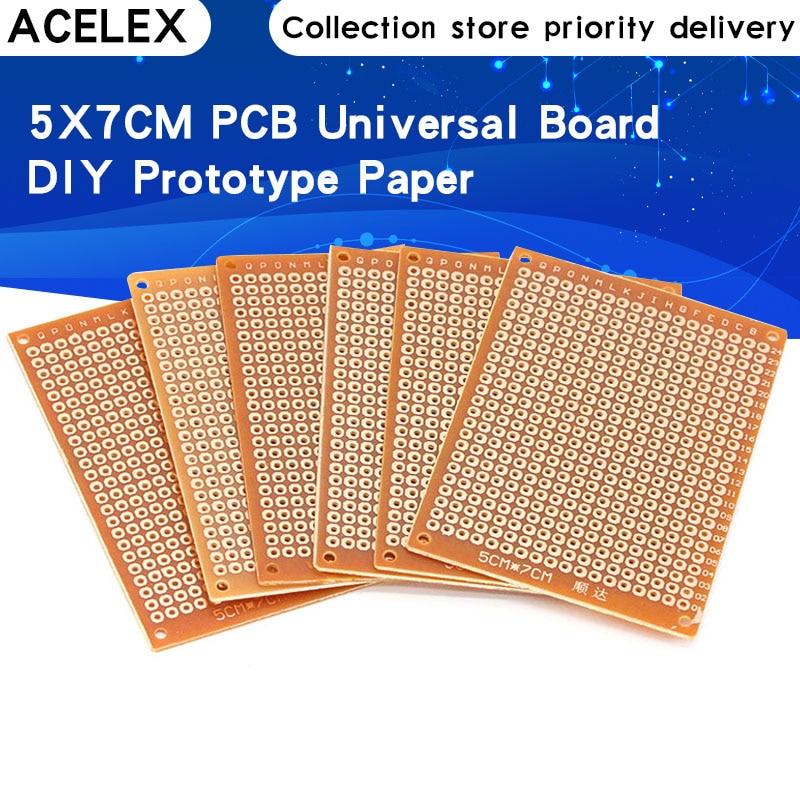 10 pces 5*7 pcb 5x7 pcb 5cm 7cm diy protótipo de papel pcb placa universal amarelo