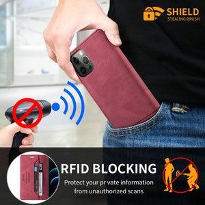 Image 5 - Reno 4 Z Reno5 Lite 5F 4Z 5G Flip Case Luxury Leather Shield RFID Blocking Wallet Skin for OPPO Reno 5 Lite Case Reno4 Lite 5 F
