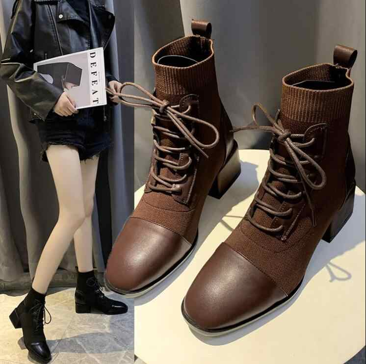 Ankle Boots Women Shoes Woman Boots Fashion Square Heel Square Toe Elastic Socks Boots 2019 Autumn New Breathable Booties X394