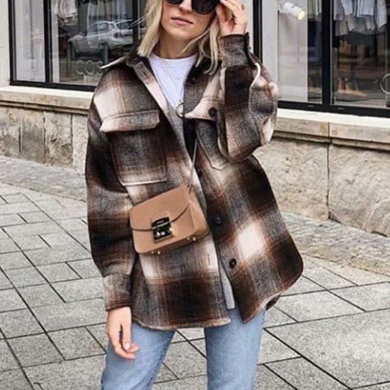ZA осень зима Женская Клетчатая Шерстяная Рубашка Плюс твидовое плотное пальто теплая верхняя одежда женские большие пальто женская рубашк...