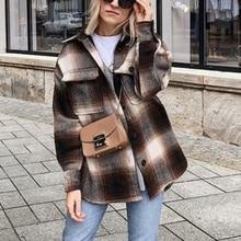 ZA autumn winter Women's plaid woolen shirt Plus tweed thick coat Warm Outwear w