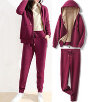 3XL Hooded Plus Velvet Sports Suit Hoodies Female Loose Autumn Winter Lamb Thick Two Piece Warm Sweatshirt Women Hoodies Q2090