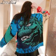 L77street Winter Beauty and beast pattern Jacquard Thick cotton woven High street Harajuku Loose casual sweater()