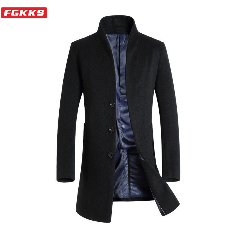 FGKKS Winter Men Wool Blend Coats Trend Brand Men's Simple Casual Trench Coat Fashion Slim Wild Wool Blends Overcoat Male