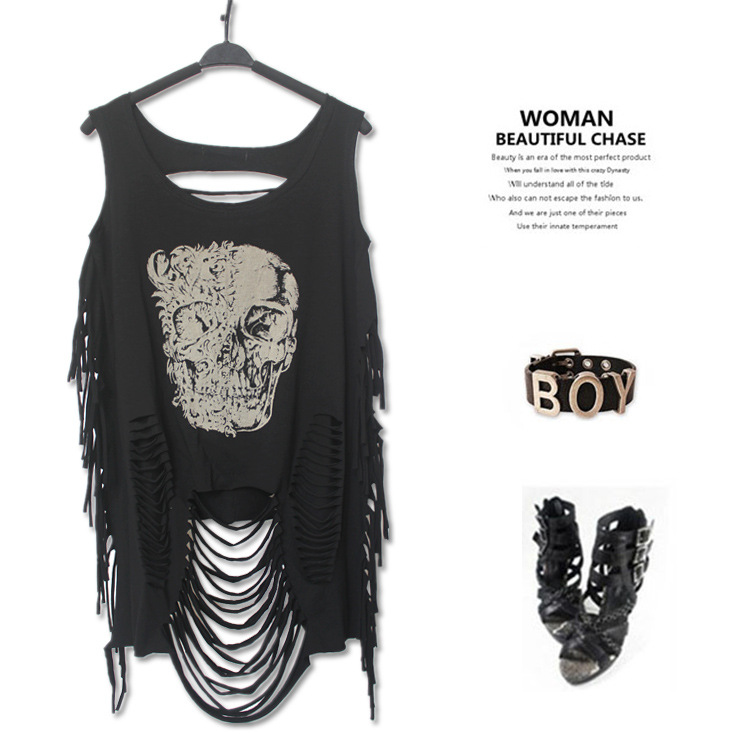 PUNK ROCK Summer Women New Fashion T-shirt Print Skull Off The Shoulder Tassel Retro Personalized Casual Tshirt Women's Clothing