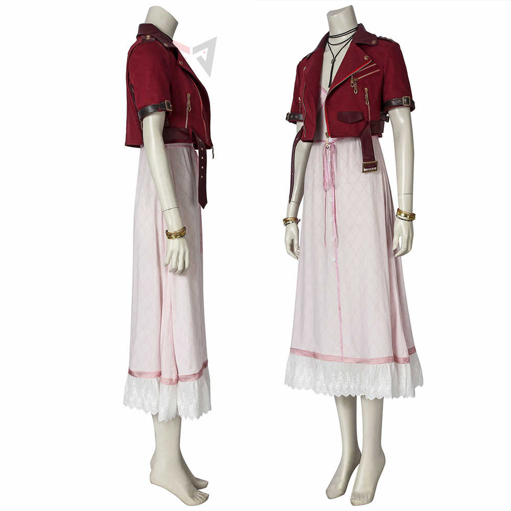 Game Final Fantasy Vii Cosplay Aerith Gainsborough Kostuum Fancy Dress Laarzen Halloween Set Voor Vrouwen Carnaval Volwassen