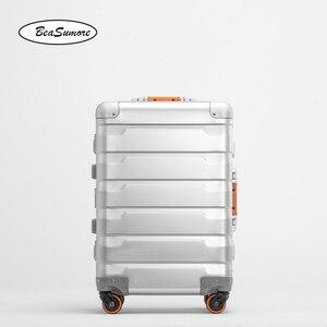 Image 5 - BeaSumore roue valise pour hommes, 100%, style rétro en alliage daluminium, chariot à grande capacité 20/24 pouces
