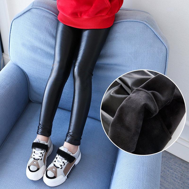 Girls Faux PU Leather Leggings Autumn Winter Fleece Lined Leggings For Cute Girls Black Children Kids Girls Stretchy Leggings