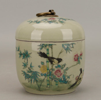 "Tetera en forma de pájaro Flor de porcelana famosa china de 5,1 "", bote de té de bambú, tetera J"