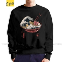 Great Ramen Wave Man Sweatshirt Unique Cotton Crewneck Pullover Classic Noodles Japan Japanese The Great Wave Of Kanagawa Hoodie