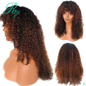 Image 1 - 13x4 invisível 150% 1b30 ombre cor frente do laço perucas de cabelo humano com franja preplucked encerramento encaracolado frontal peruca do laço indiano remy