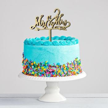 Nowy pan pani drewniane narzędzie do dekoracji ciast dekoracja rocznicowa topper tort weselny ciasto dekorowanie naklejka tanie i dobre opinie Drewna