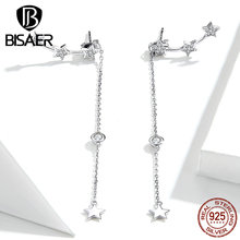 Серьги с кисточками BISAER, 925 пробы, серебро, светящаяся звезда, длинная цепочка, звезда, женские серьги-гвоздики, ювелирные изделия из стерлингового серебра ECE727