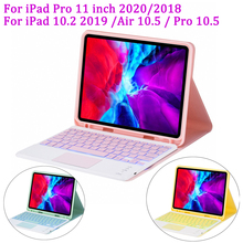 2017 top quality new arrivals portable mini aluminum 7 colors backlit bluetooth keyboard stand for ipad air2 pro9 7 for s7 edge For iPad Pro 11 2020 2018/iPad 10.2 2019/Air 10.5/Pro 10.5 Case with 7 Colors Backlit Bluetooth Touchpad Keyboard Pencil Holder