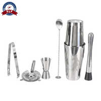 6PCS Stainless Steel Cocktail Shaker Set Drink Boston Bartender Browser Kit Bars Set Professional Bartender Tool