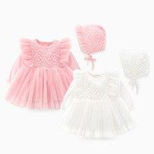 Комплект одежды для новорожденных девочек, формальное кружевное платье для крещения, вечерние платья для девочек 0, 3, 6 месяцев