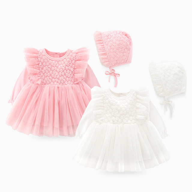 New Born Baby Girl Clothes Sets Formal  Lace Baptism Dress Baby Girl for Party Wedding 0 3 6 Months Infant Christening Dress